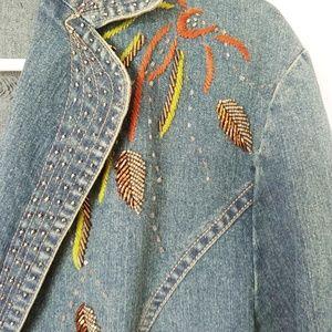 seandara Jackets & Coats - Seandara jean jacket with embroidery XL